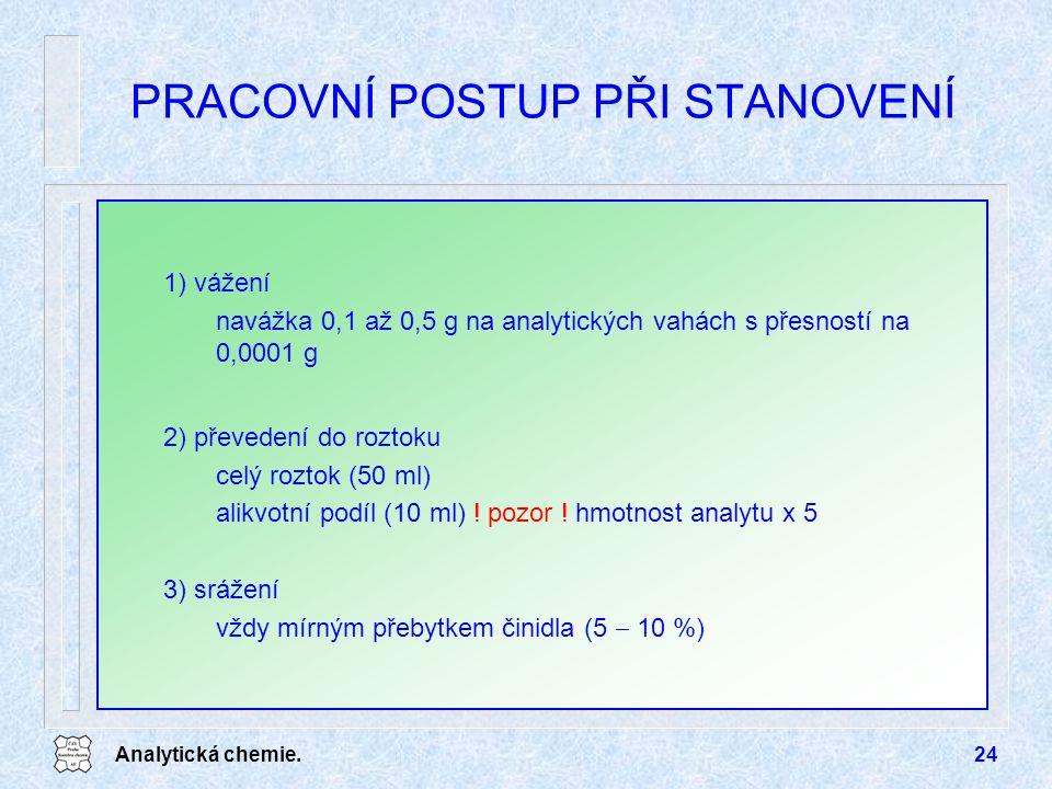 Analytická chemie.24 PRACOVNÍ POSTUP PŘI STANOVENÍ 1) vážení navážka 0,1 až 0,5 g na analytických vahách s přesností na 0,0001 g 2) převedení do rozto