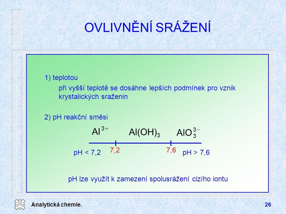 Analytická chemie.26 OVLIVNĚNÍ SRÁŽENÍ 1) teplotou při vyšší teplotě se dosáhne lepších podmínek pro vznik krystalických sraženin 2) pH reakční směsi