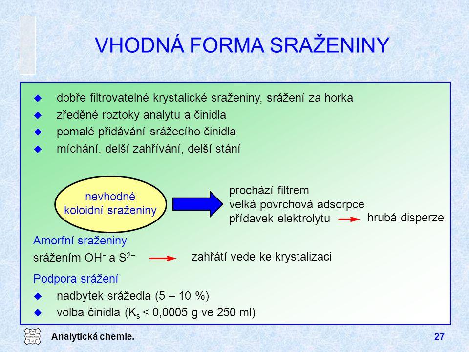 Analytická chemie.27 Podpora srážení u nadbytek srážedla (5 – 10 %) u volba činidla (K s < 0,0005 g ve 250 ml) Amorfní sraženiny srážením OH  a S 2 