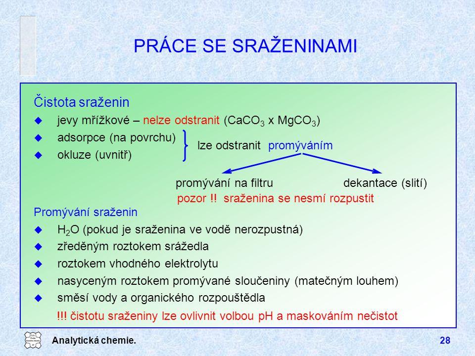 Analytická chemie.28 Čistota sraženin u jevy mřížkové – nelze odstranit (CaCO 3 x MgCO 3 ) u adsorpce (na povrchu) u okluze (uvnitř) pozor !! sraženin