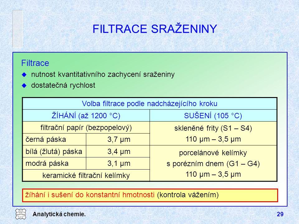 Analytická chemie.29 Filtrace u nutnost kvantitativního zachycení sraženiny u dostatečná rychlost žíhání i sušení do konstantní hmotnosti (kontrola vá
