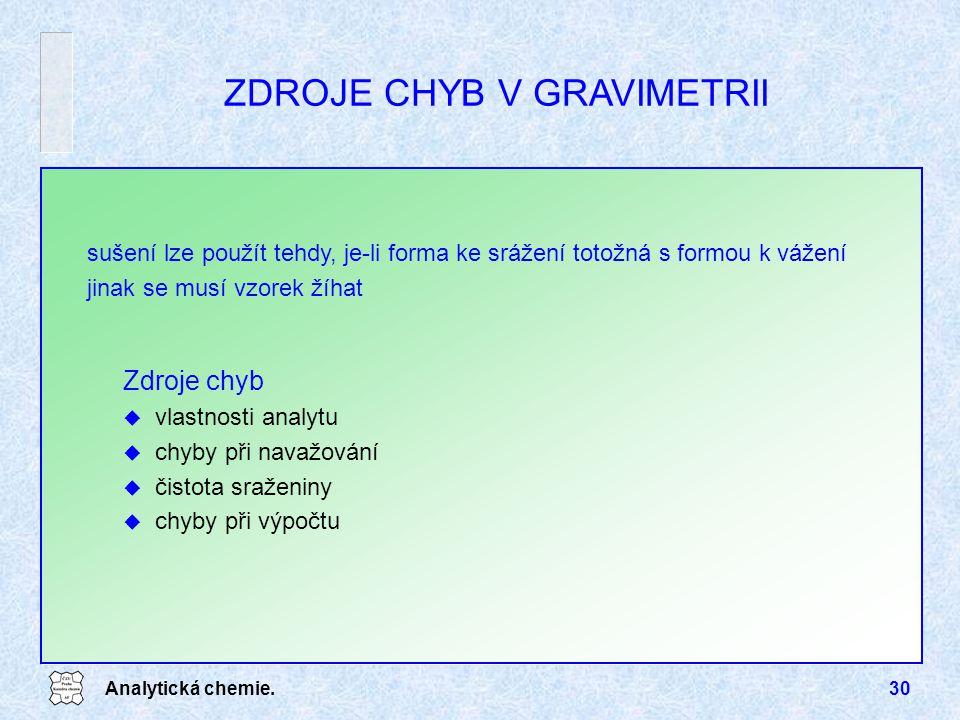 Analytická chemie.30 sušení lze použít tehdy, je-li forma ke srážení totožná s formou k vážení jinak se musí vzorek žíhat ZDROJE CHYB V GRAVIMETRII Zd