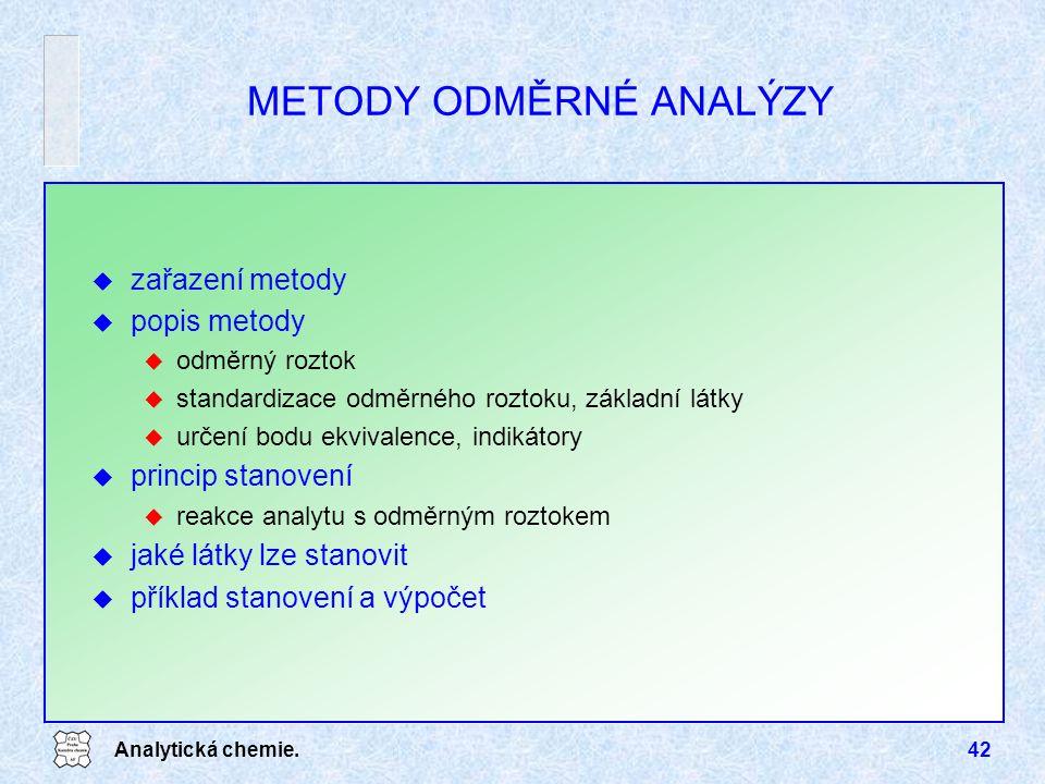 Analytická chemie.42 METODY ODMĚRNÉ ANALÝZY u zařazení metody u popis metody u odměrný roztok u standardizace odměrného roztoku, základní látky u urče