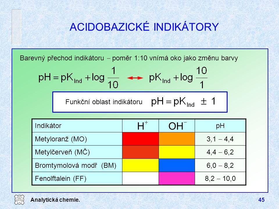 Analytická chemie.45 ACIDOBAZICKÉ INDIKÁTORY Barevný přechod indikátoru  poměr 1:10 vnímá oko jako změnu barvy Funkční oblast indikátoru IndikátorpH