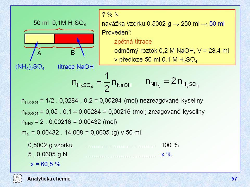 Analytická chemie.57 ? % N navážka vzorku 0,5002 g  250 ml  50 ml Provedení: zpětná titrace odměrný roztok 0,2 M NaOH, V = 28,4 ml v předloze 50 ml