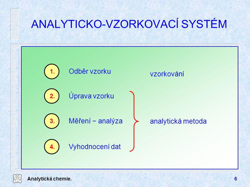 Analytická chemie.7 ODBĚR VZORKU Reprezentativní vzorek u čím větší je heterogenita vzorku, tím je hmotnost vzorku větší u po homogenizaci se bere k vlastní analýze alikvotní část u neexistuje jednotný postup ČSN normy, ISO normy (EU) vzorkování, nádoby, konzervace 1.