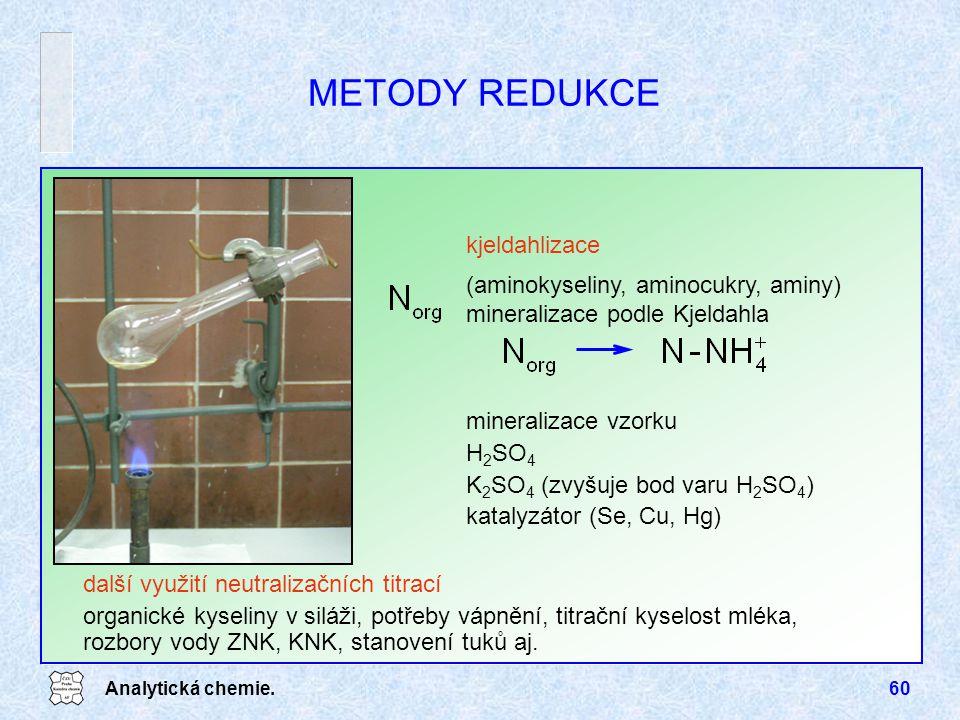 Analytická chemie.60 METODY REDUKCE kjeldahlizace (aminokyseliny, aminocukry, aminy) mineralizace podle Kjeldahla mineralizace vzorku H 2 SO 4 K 2 SO