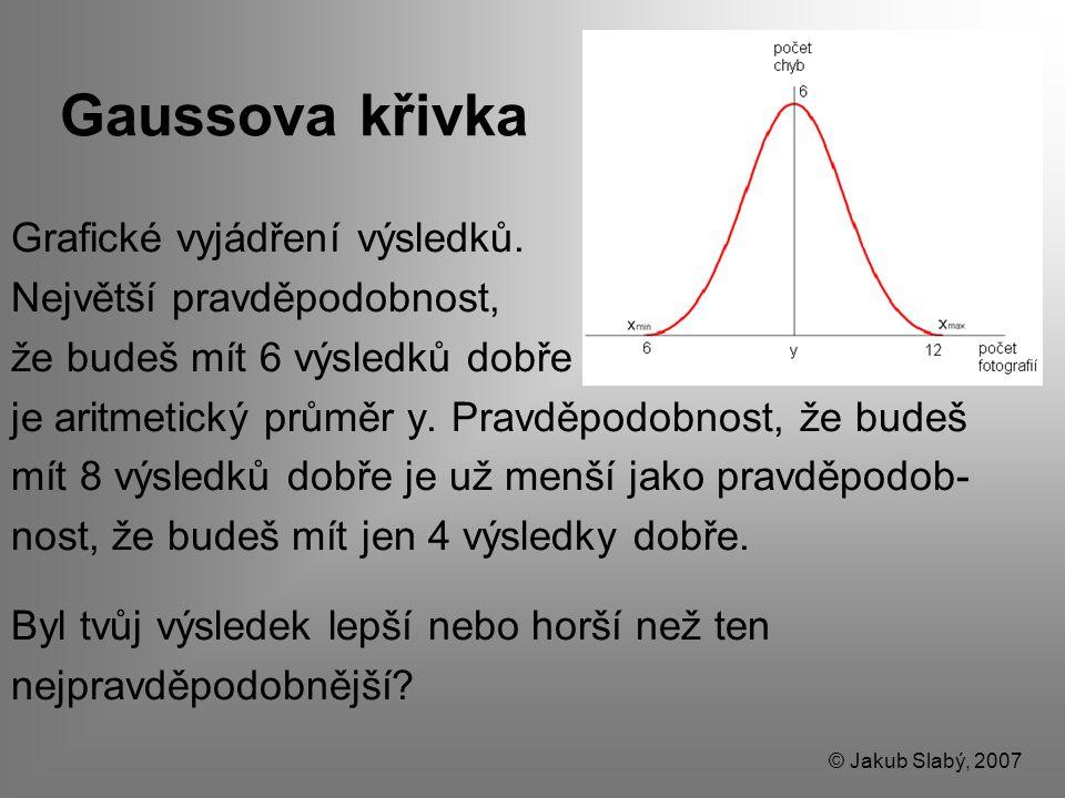 Gaussova křivka Grafické vyjádření výsledků. Největší pravděpodobnost, že budeš mít 6 výsledků dobře je aritmetický průměr y. Pravděpodobnost, že bude