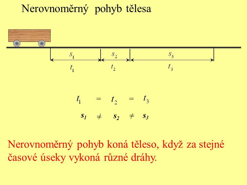 Nerovnoměrný pohyb tělesa == / / = = s1s1 s2s2 s3s3 Nerovnoměrný pohyb koná těleso, když za stejné časové úseky vykoná různé dráhy.