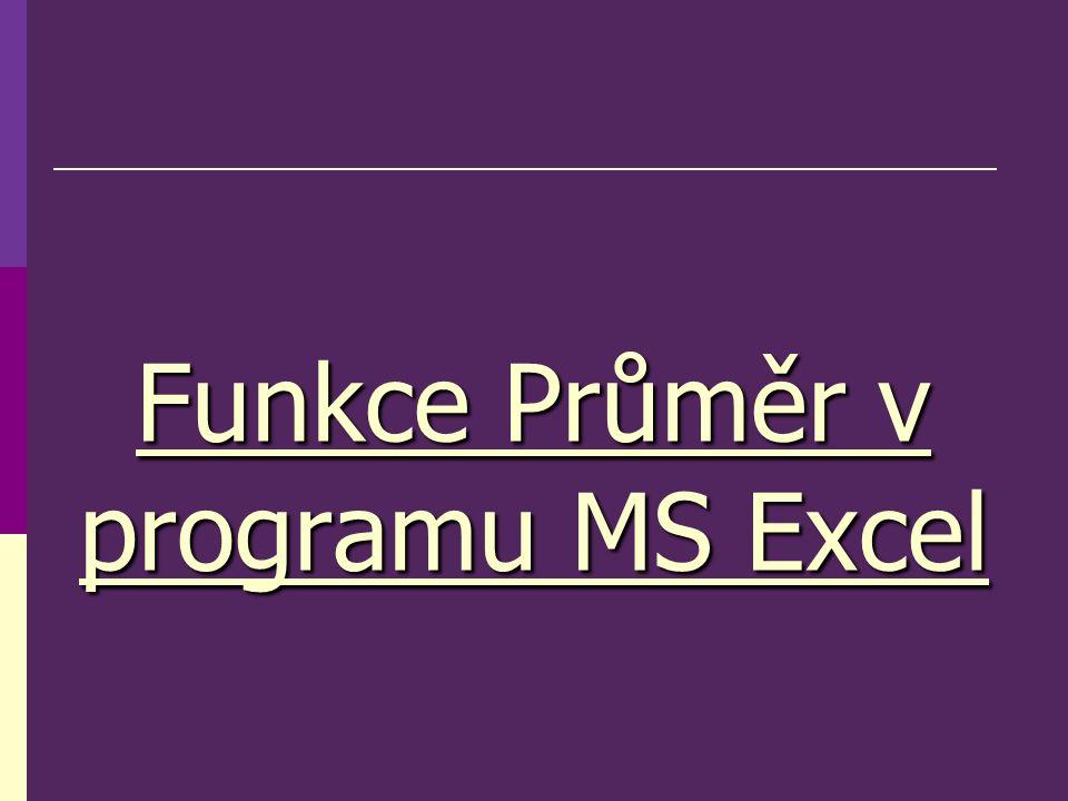 Funkce Průměr v programu MS Excel