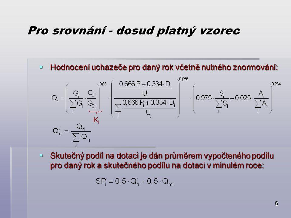 17 Celkové zhodnocení navržené formule  Optimální stav:  Formule, která by vyjádřila podíl dané vysoké školy na specifickém výzkumu v rámci českých VŠ.
