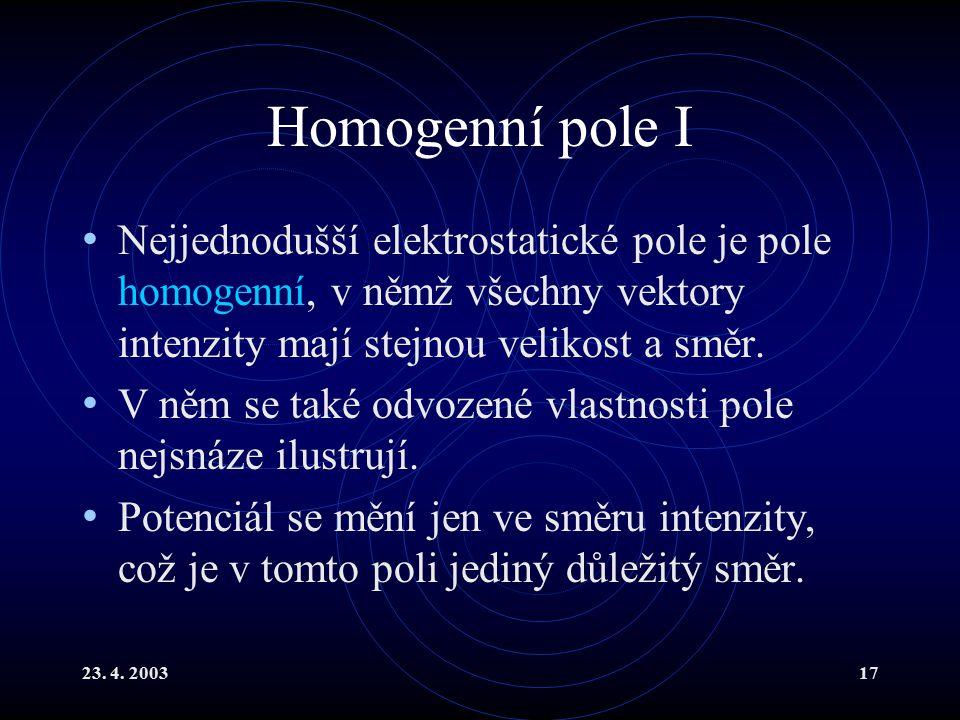 23. 4. 200317 Homogenní pole I Nejjednodušší elektrostatické pole je pole homogenní, v němž všechny vektory intenzity mají stejnou velikost a směr. V