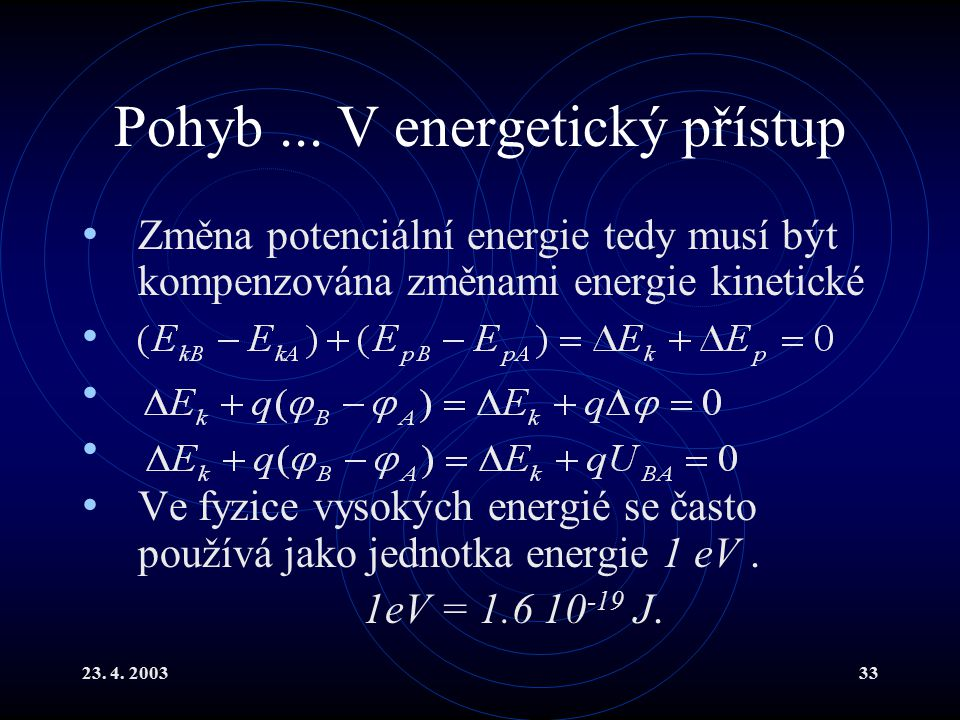 23. 4. 200333 Pohyb... V energetický přístup Změna potenciální energie tedy musí být kompenzována změnami energie kinetické Ve fyzice vysokých energié