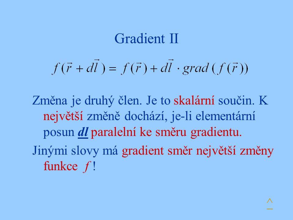 Gradient II Změna je druhý člen. Je to skalární součin. K největší změně dochází, je-li elementární posun dl paralelní ke směru gradientu. Jinými slov