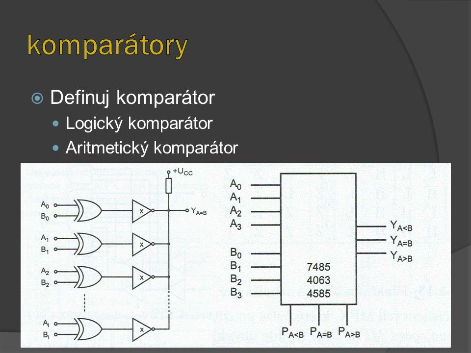  Definuj komparátor Logický komparátor Aritmetický komparátor