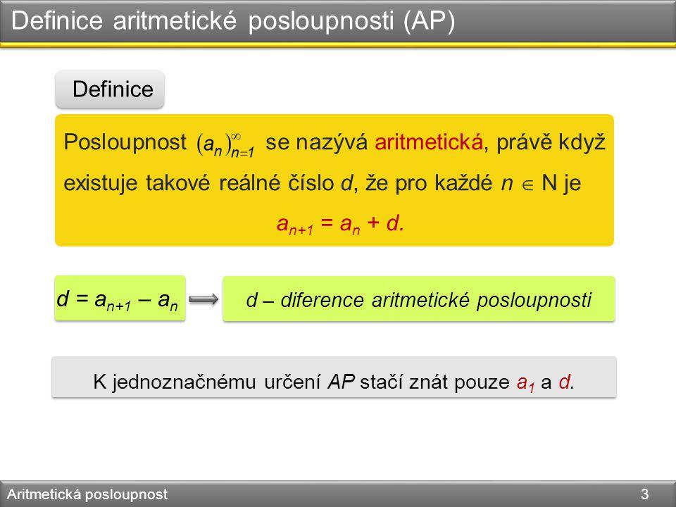 Definice aritmetické posloupnosti (AP) Aritmetická posloupnost 3 Posloupnost se nazývá aritmetická, právě když existuje takové reálné číslo d, že pro každé n  N je a n+1 = a n + d.