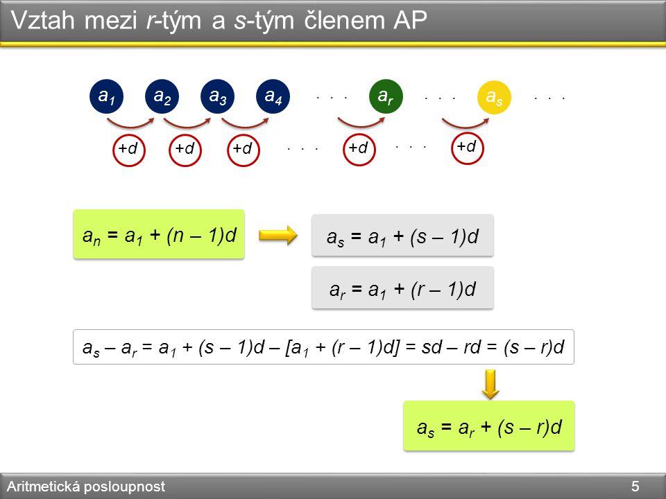 Vztah mezi r-tým a s-tým členem AP Aritmetická posloupnost 5 a1a1 a2a2 a3a3 a4a4 arar... +d+d+d+d+d+d +d+d a n = a 1 + (n – 1)d asas... +d+d a s = a 1