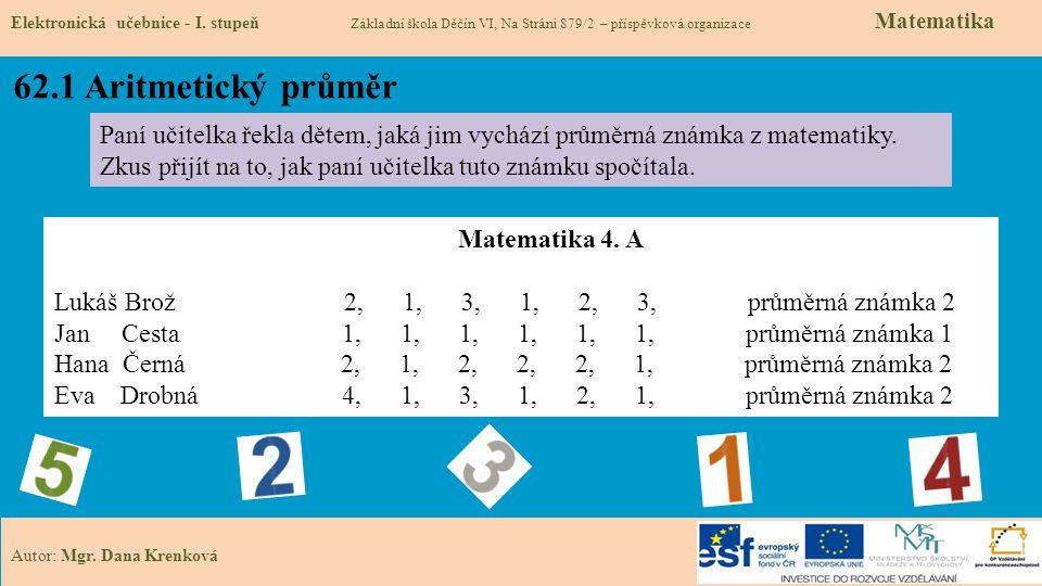 62.1 Aritmetický průměr Elektronická učebnice - I.