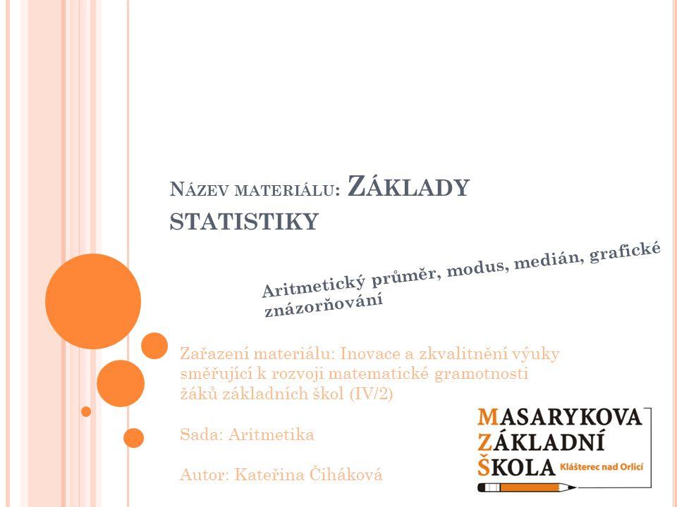 N ÁZEV MATERIÁLU : Z ÁKLADY STATISTIKY Aritmetický průměr, modus, medián, grafické znázorňování Zařazení materiálu: Inovace a zkvalitnění výuky směřuj