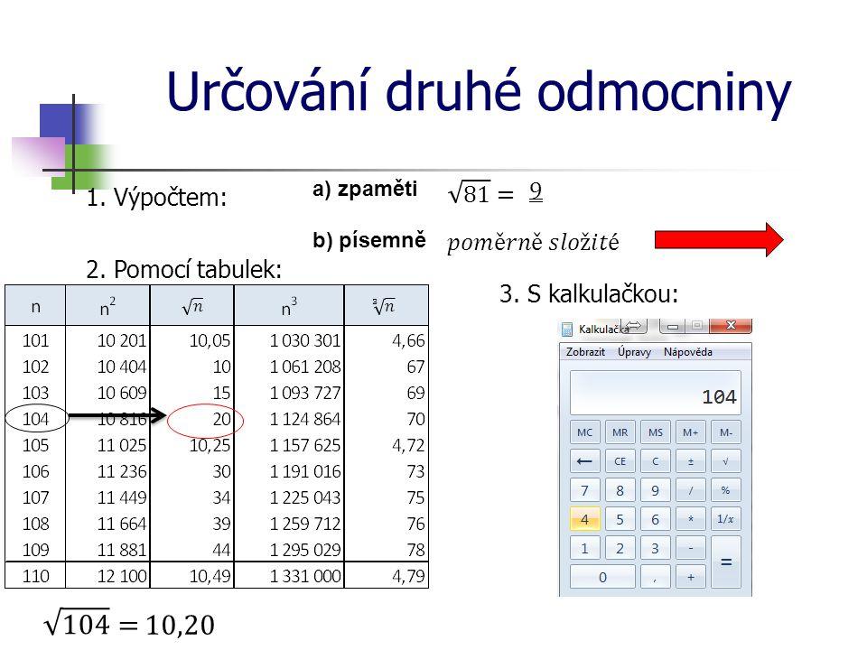Určování druhé odmocniny 1. Výpočtem: a) zpaměti b) písemně 2. Pomocí tabulek: 3. S kalkulačkou: