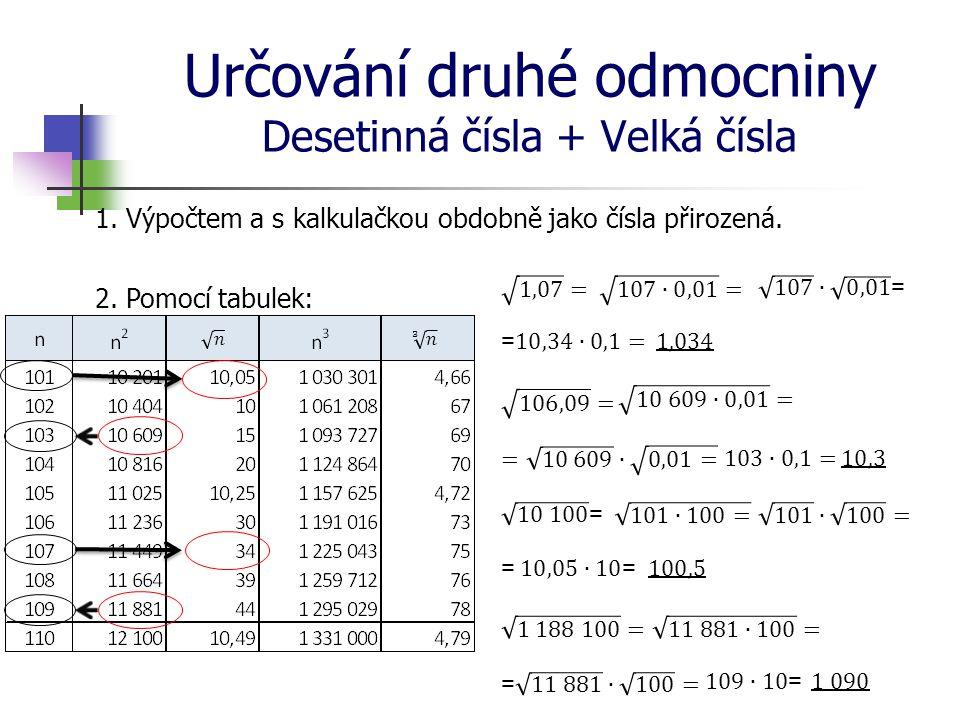 Určování druhé odmocniny Desetinná čísla + Velká čísla 1.