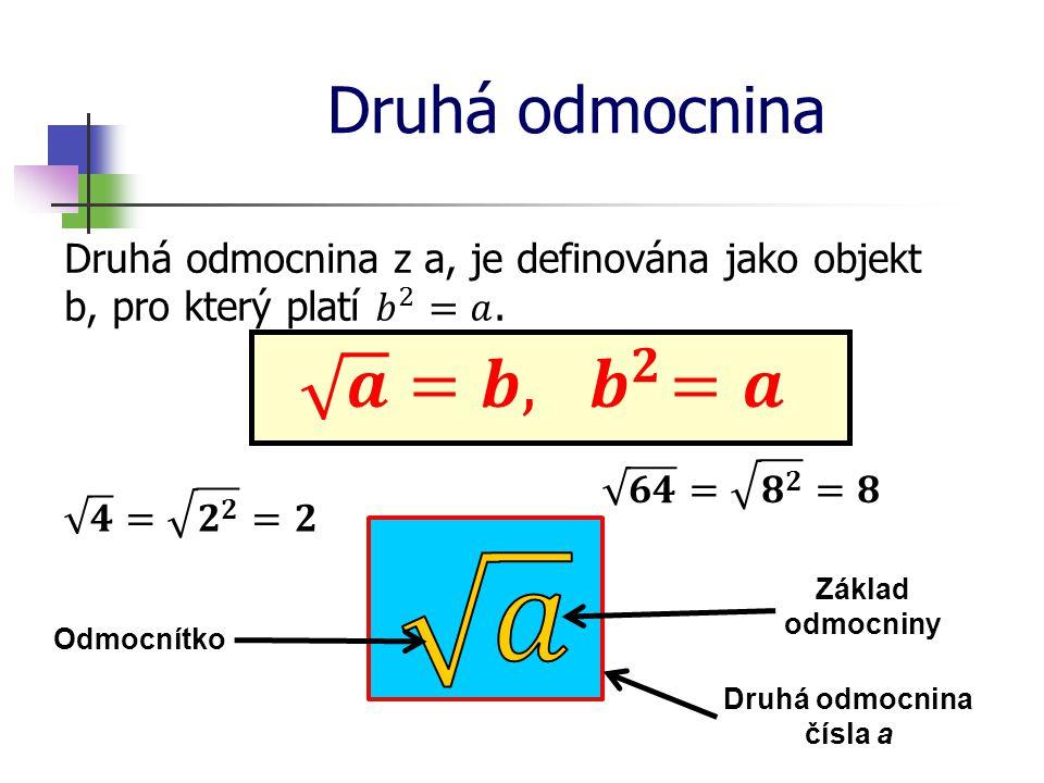 Druhá odmocnina Druhá odmocnina čísla a Základ odmocniny Odmocnítko