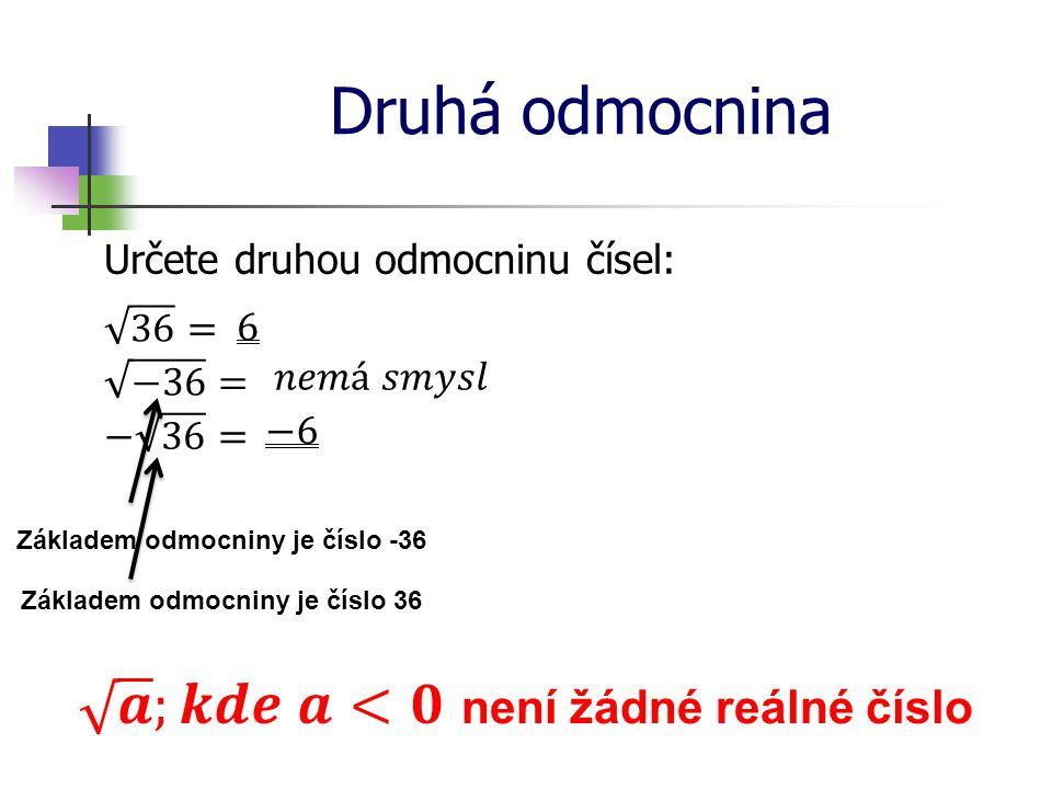 Druhá odmocnina Určete druhou odmocninu čísel: Základem odmocniny je číslo -36 Základem odmocniny je číslo 36