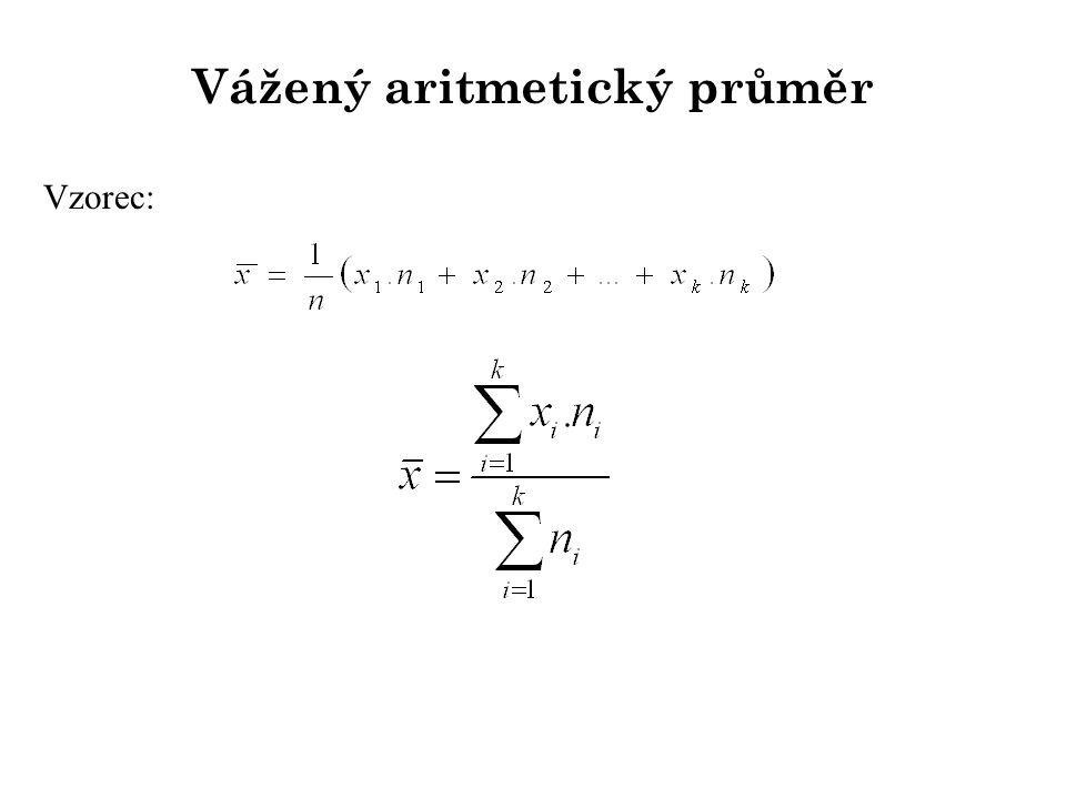 Vážený aritmetický průměr Vzorec: