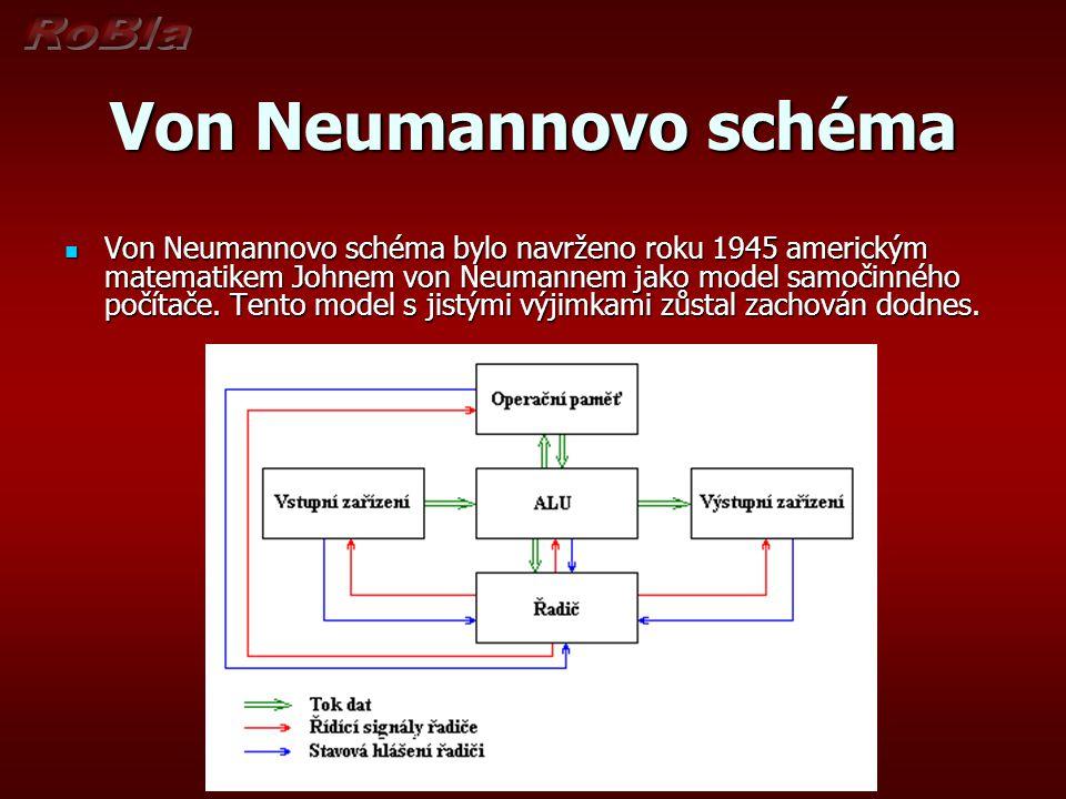 Von Neumannovo schéma Podle tohoto schématu se počítač skládá z pěti hlavních modulů: Podle tohoto schématu se počítač skládá z pěti hlavních modulů: Operační paměť : slouží k uchování zpracovávaného programu, zpracovávaných dat a výsledků výpočtu Operační paměť : slouží k uchování zpracovávaného programu, zpracovávaných dat a výsledků výpočtu ALU - Arithmetic-logic Unit (aritmetickologická jednotka): jednotka provádějící veškeré aritmetické výpočty a logické operace.