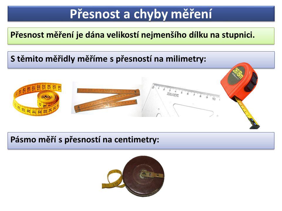 Přesnost a chyby měření Přesnost měření je dána velikostí nejmenšího dílku na stupnici. Přesnost měření je dána velikostí nejmenšího dílku na stupnici