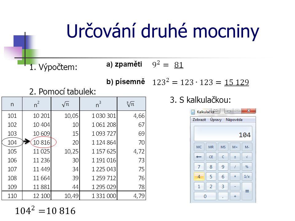 Určování druhé mocniny 1. Výpočtem: a) zpaměti b) písemně 2. Pomocí tabulek: 3. S kalkulačkou:
