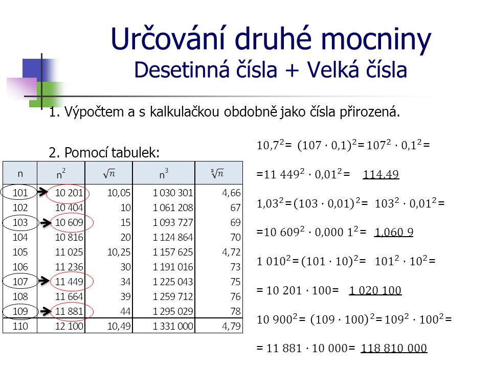 Určování druhé mocniny Desetinná čísla + Velká čísla 1. Výpočtem a s kalkulačkou obdobně jako čísla přirozená. 2. Pomocí tabulek: