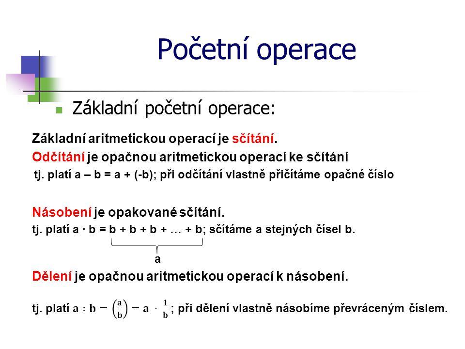 Početní operace Základní početní operace: Umocňování je k násobení v podobném vztahu, v jakém je samo násobení ke sčítání.