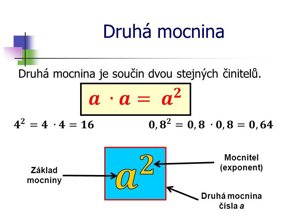 Druhá mocnina Druhá mocnina je součin dvou stejných činitelů. Druhá mocnina čísla a Základ mocniny Mocnitel (exponent)
