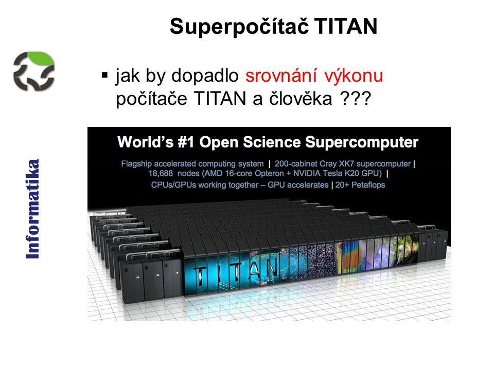 Informatika Superpočítač TITAN  jak by dopadlo srovnání výkonu počítače TITAN a člověka ???