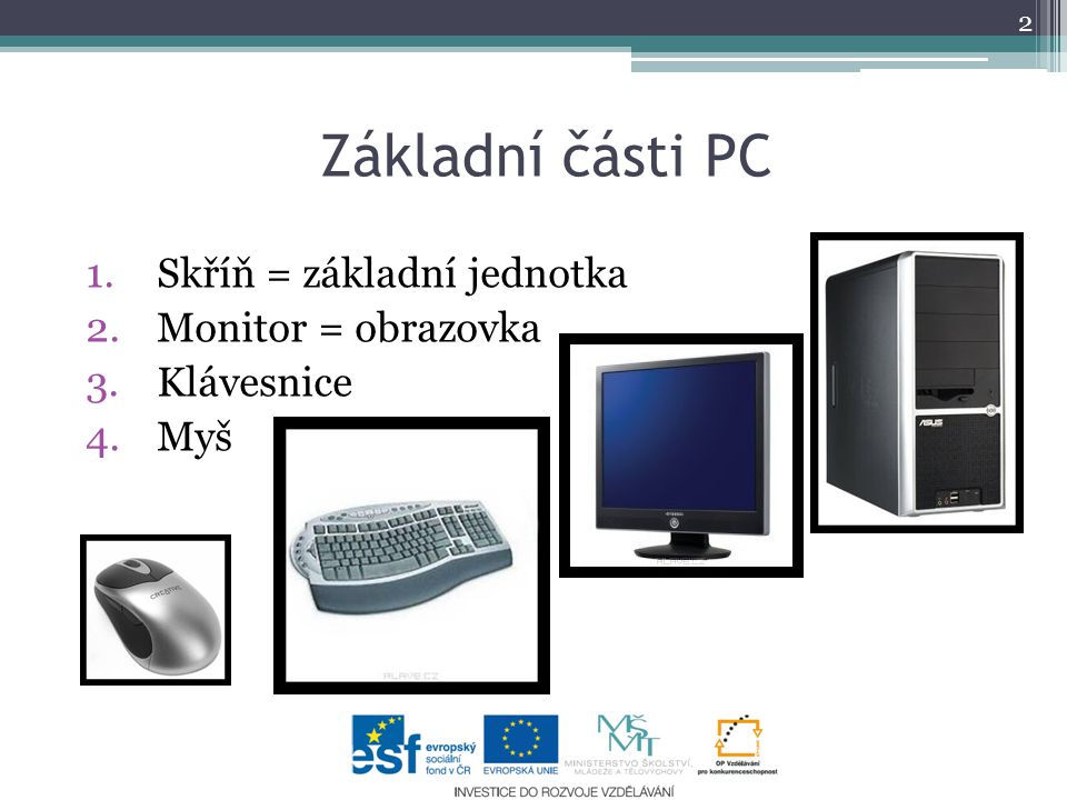 Základní části PC 1.Skříň = základní jednotka 2.Monitor = obrazovka 3.Klávesnice 4.Myš 2