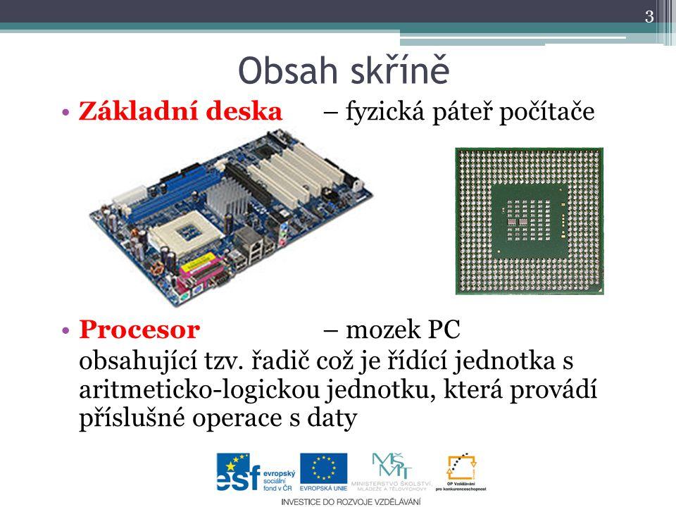 Obsah skříně Základní deska – fyzická páteř počítače Procesor– mozek PC obsahující tzv. řadič což je řídící jednotka s aritmeticko-logickou jednotku,