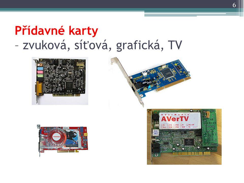 Přídavné karty – zvuková, síťová, grafická, TV 6