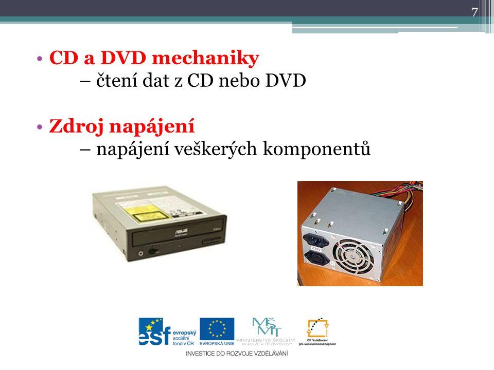 CD a DVD mechaniky – čtení dat z CD nebo DVD Zdroj napájení – napájení veškerých komponentů 7