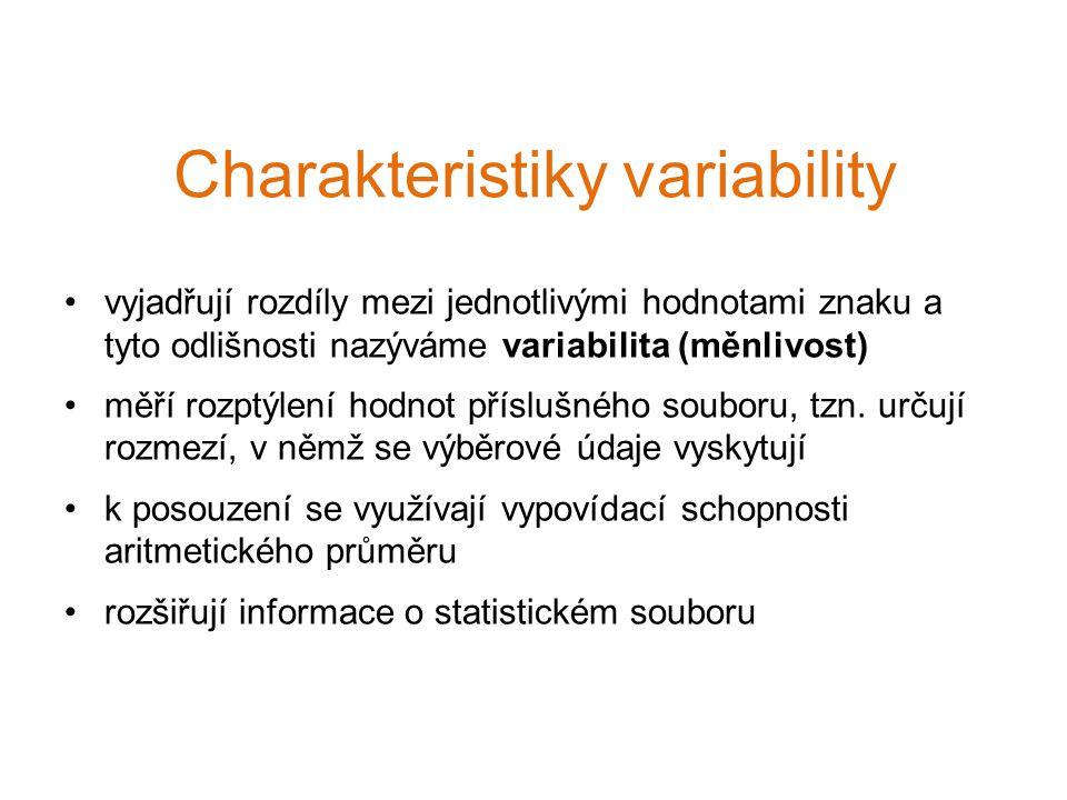 vyjadřují rozdíly mezi jednotlivými hodnotami znaku a tyto odlišnosti nazýváme variabilita (měnlivost) měří rozptýlení hodnot příslušného souboru, tzn.