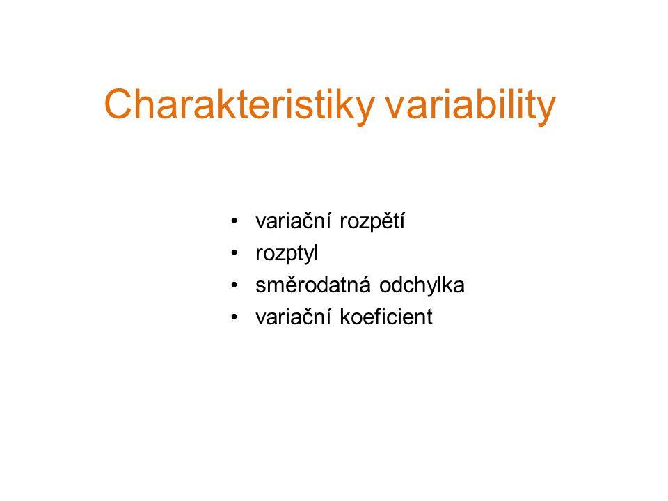 Charakteristiky variability variační rozpětí rozptyl směrodatná odchylka variační koeficient