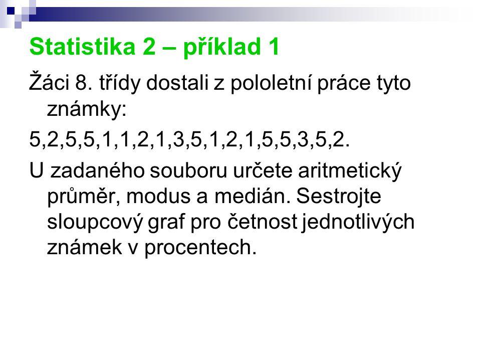 Statistika 2 – příklad 1 Žáci 8. třídy dostali z pololetní práce tyto známky: 5,2,5,5,1,1,2,1,3,5,1,2,1,5,5,3,5,2. U zadaného souboru určete aritmetic