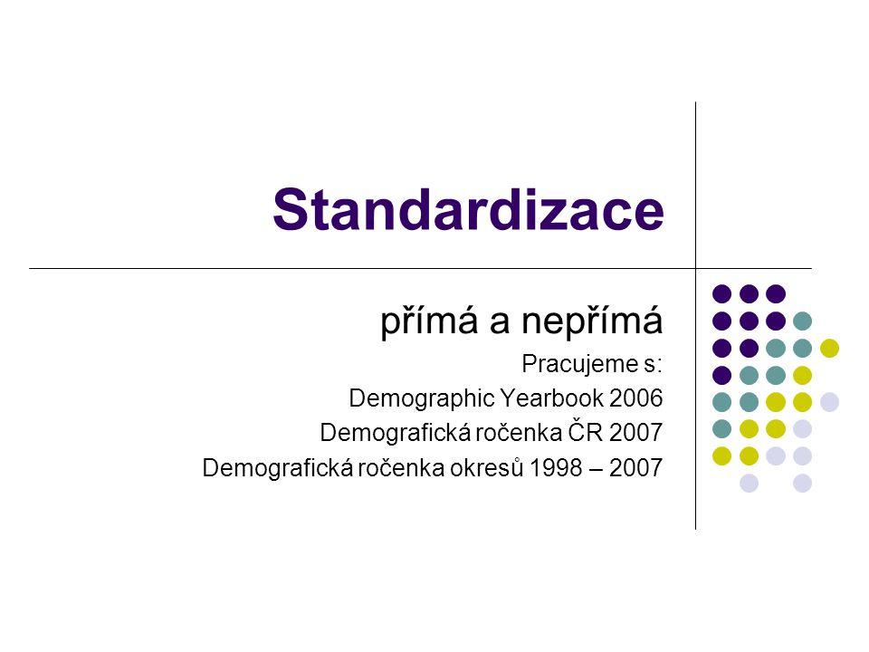 Standardizace přímá a nepřímá Pracujeme s: Demographic Yearbook 2006 Demografická ročenka ČR 2007 Demografická ročenka okresů 1998 – 2007