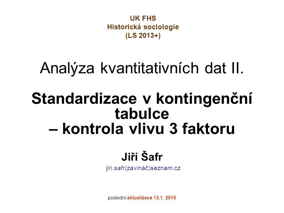 Analýza kvantitativních dat II. Standardizace v kontingenční tabulce – kontrola vlivu 3 faktoru Jiří Šafr jiri.safr(zavináč)seznam.cz poslední aktuali