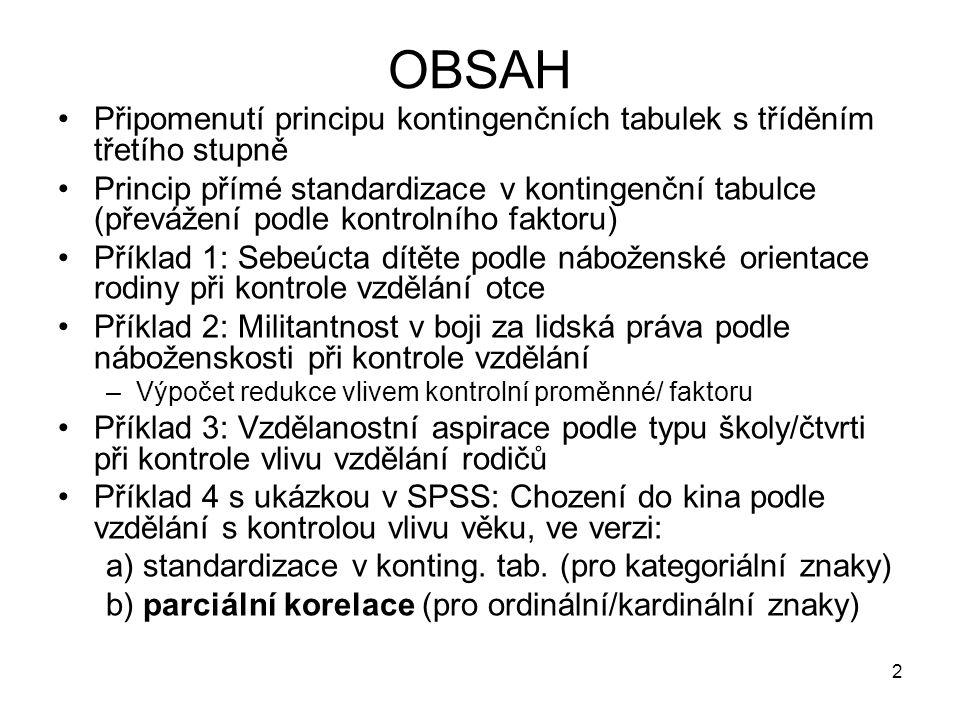 2 OBSAH Připomenutí principu kontingenčních tabulek s tříděním třetího stupně Princip přímé standardizace v kontingenční tabulce (převážení podle kont