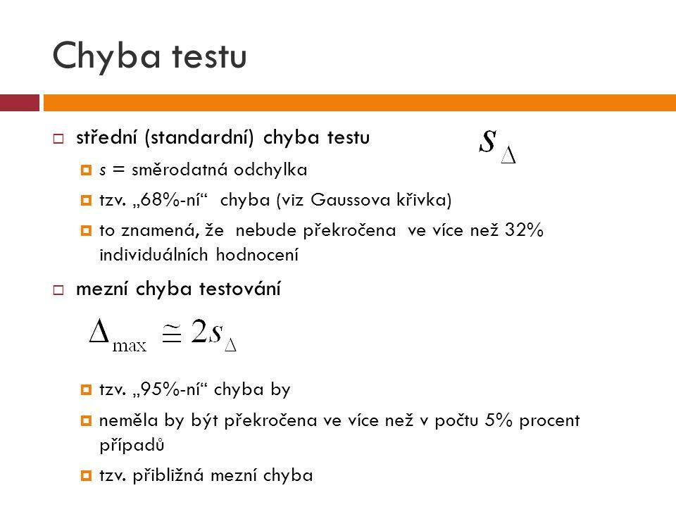 """Chyba testu  střední (standardní) chyba testu  s = směrodatná odchylka  tzv. """"68%-ní"""" chyba (viz Gaussova křivka)  to znamená, že nebude překročen"""