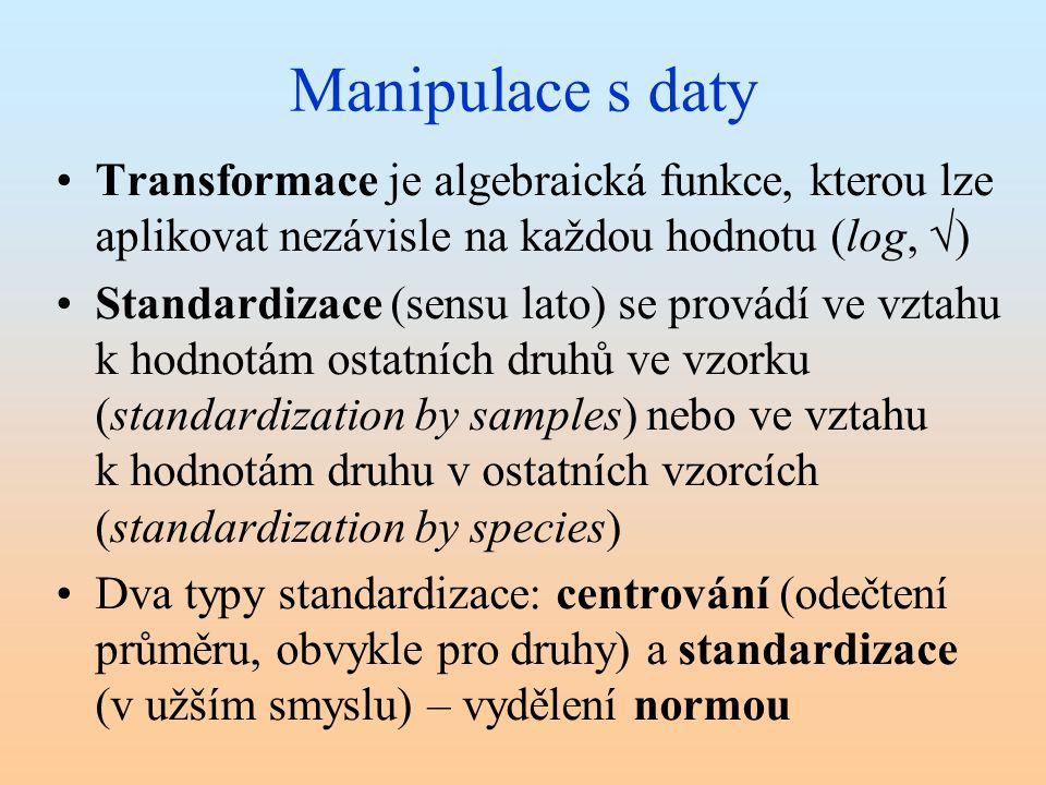 Manipulace s daty Transformace je algebraická funkce, kterou lze aplikovat nezávisle na každou hodnotu (log, √) Standardizace (sensu lato) se provádí