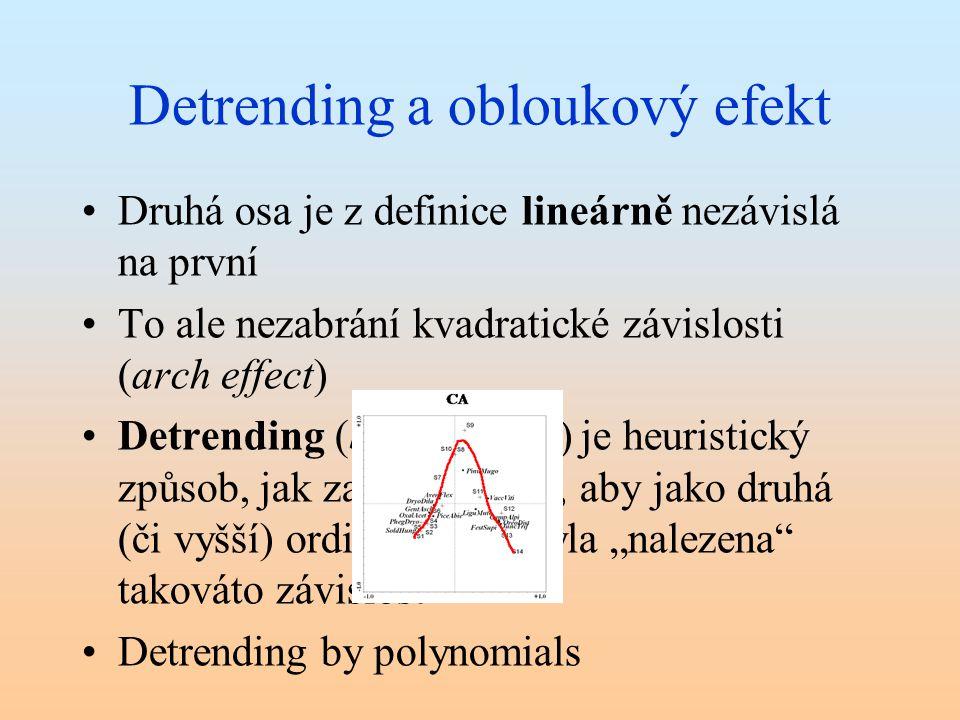 Detrending a obloukový efekt Druhá osa je z definice lineárně nezávislá na první To ale nezabrání kvadratické závislosti (arch effect) Detrending (by