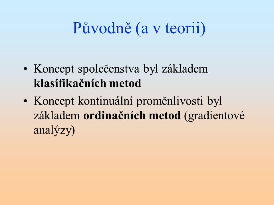 Původně (a v teorii) Koncept společenstva byl základem klasifikačních metod Koncept kontinuální proměnlivosti byl základem ordinačních metod (gradient