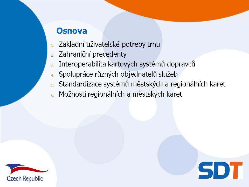 Základní uživatelské požadavky trhu Umožnění cestování s jednou kartou ve všech elektronických odbavovacích systémech v ČR s možností využití jednotlivého jízdného, časového jízdného a EP, Dosažení interoperability stávajících systémů sloužících k platbám a odbavení cestujících (tj.